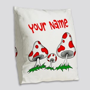 Shrooms Burlap Throw Pillow