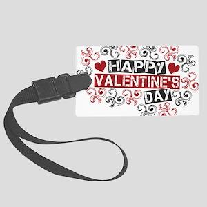 happy valentine's day twirls Large Luggage Tag