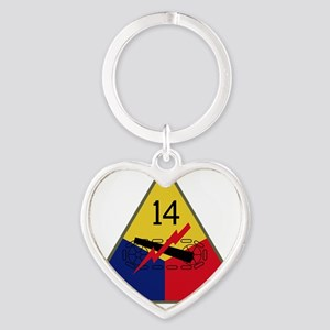14th Armored Division Heart Keychain