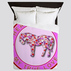 3-HEART HORSE - MY TRUE LOVE Queen Duvet