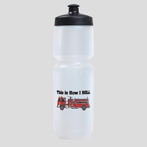 how i roll fire truck funny design Sports Bottle