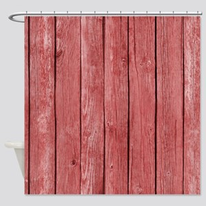 Red Wooden Fence Shower Curtain