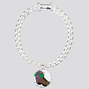 Wine Boot-round Charm Bracelet, One Charm