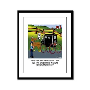 Horse Got in to GMO Hay Framed Panel Print