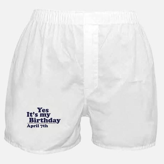 April 7 Birthday Boxer Shorts