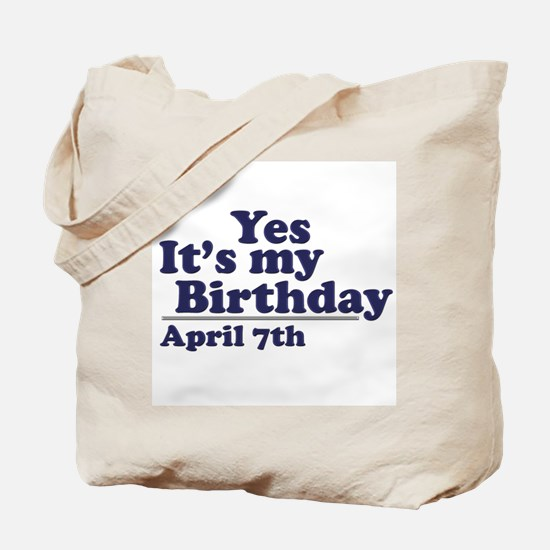 April 7 Birthday Tote Bag