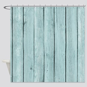 Blue Wooden Fence Shower Curtain