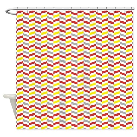 red and yellow herringbone shower curtain by cuteprints. Black Bedroom Furniture Sets. Home Design Ideas