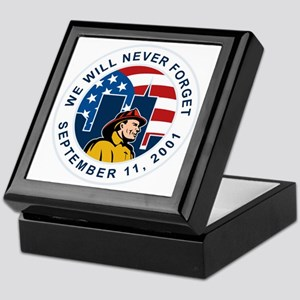 9-11 fireman firefighter american fla Keepsake Box