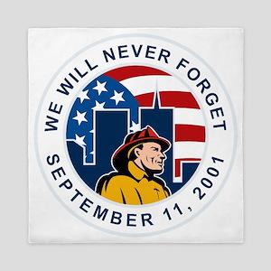 9-11 fireman firefighter american flag Queen Duvet