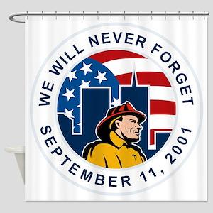 9-11 fireman firefighter american f Shower Curtain
