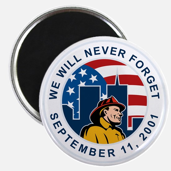 9-11 fireman firefighter american flag twin Magnet
