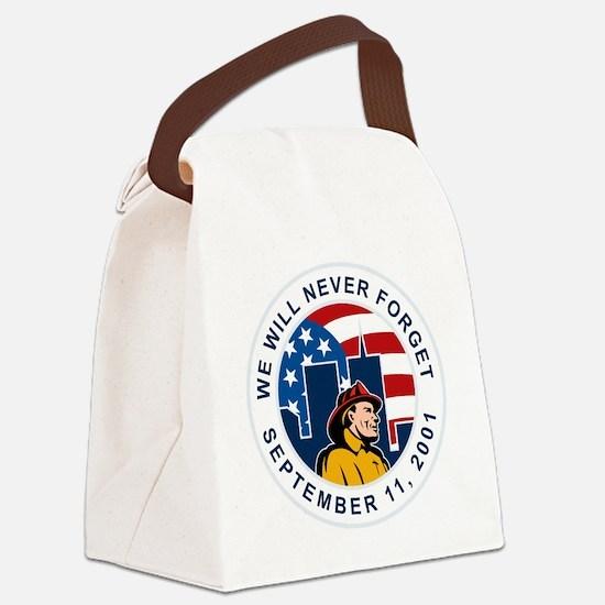 9-11 fireman firefighter american Canvas Lunch Bag