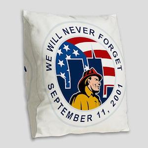 9-11 fireman firefighter ameri Burlap Throw Pillow