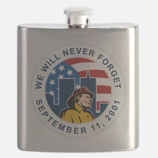 9-11 fireman firefighter american flag twin  Flask