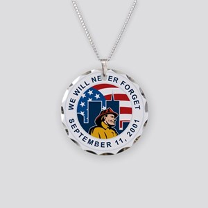 9-11 fireman firefighter ame Necklace Circle Charm