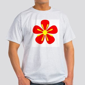 Red Retro Floral Designer Light T-Shirt