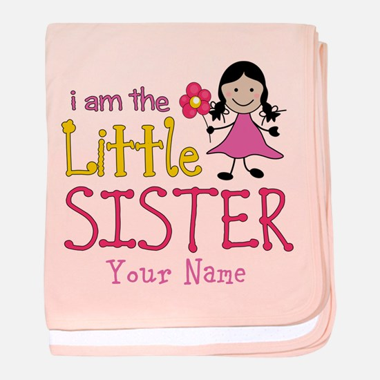Little Sister Stick Figure Girl baby blanket