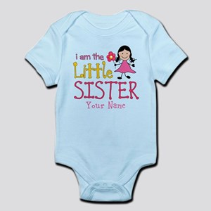 Little Sister Stick Figure Girl Infant Bodysuit