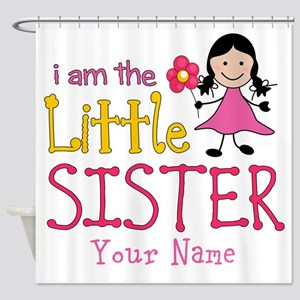 Little Sister Stick Figure Girl Shower Curtain