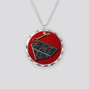 master key red rnd Necklace Circle Charm