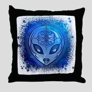 Blue Alien Dream Throw Pillow