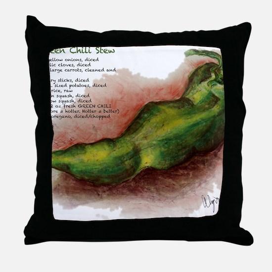 Grn_Chili_Stew_flat Throw Pillow