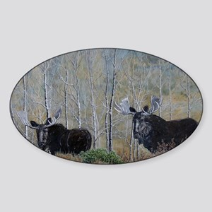 moose oil painting 14x10 Sticker (Oval)