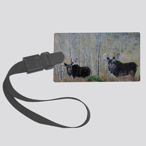 moose oil painting 14x10 Large Luggage Tag