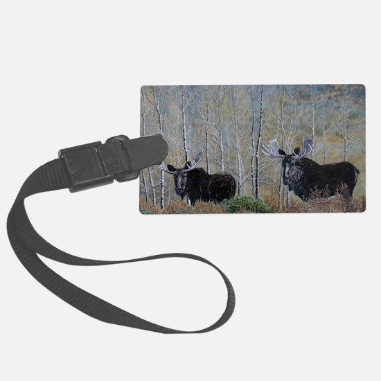 moose oil painting 14x10 Luggage Tag