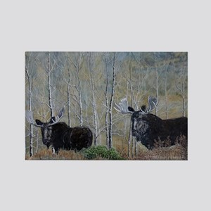 moose oil painting 14x10 Rectangle Magnet