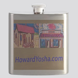Small Framed Print 2 Storefronts Flask