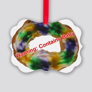 King Cake with text Picture Ornament