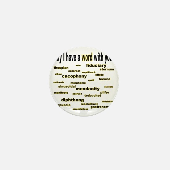 words words words goldenrod corrected Mini Button