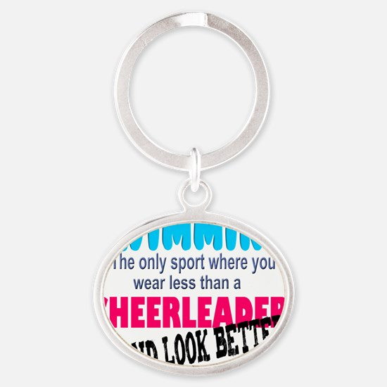 swimming - cheer Oval Keychain