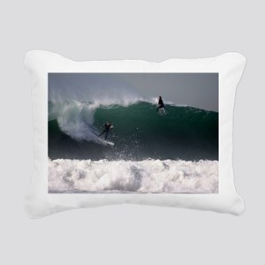 Surfing Riding the Wave Rectangular Canvas Pillow