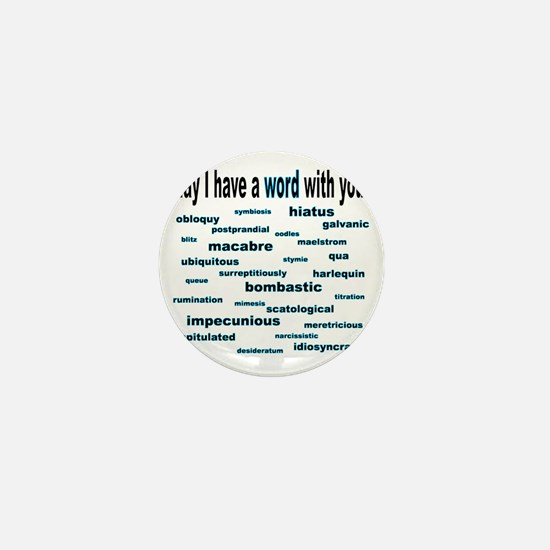 words words words cyan2 Mini Button