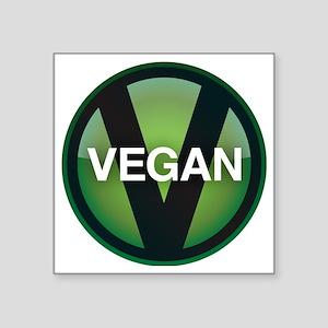 """VeganButton Square Sticker 3"""" x 3"""""""