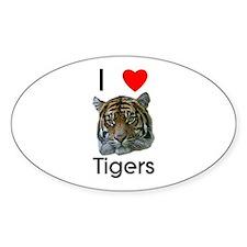 I Love Tigers Oval Sticker