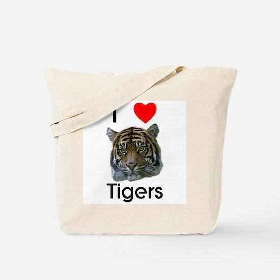 I Love Tigers Tote Bag