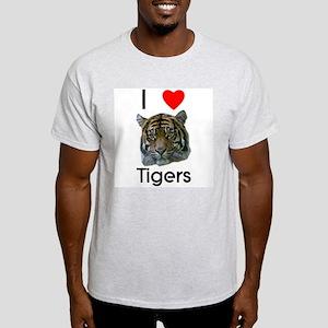 I Love Tigers Ash Grey T-Shirt