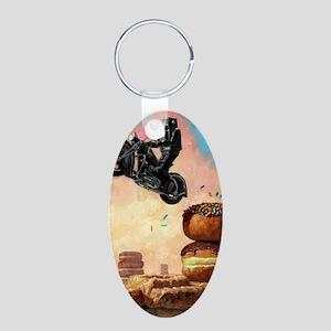 DarkRideragain Aluminum Oval Keychain