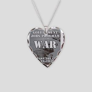 Government Jobs Program War Necklace Heart Charm