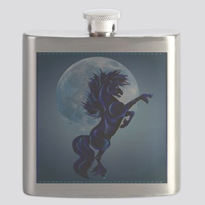 Rearing Stallion and Blue Moon_pillow Flask