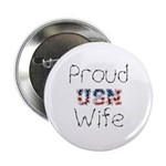 Barbed Wire Proud USN Wife Button