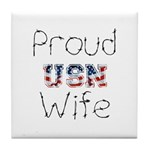 Barbed Wire Proud USN Wife Tile Coaster
