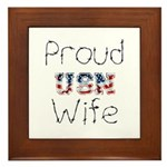 Barbed Wire Proud USN Wife Framed Tile