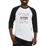 Barbed Wire Proud USN Wife Baseball Jersey