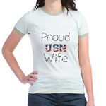 Barbed Wire Proud USN Wife Jr. Ringer T-Shirt