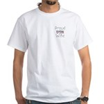 Barbed Wire Proud USN Wife White T-Shirt